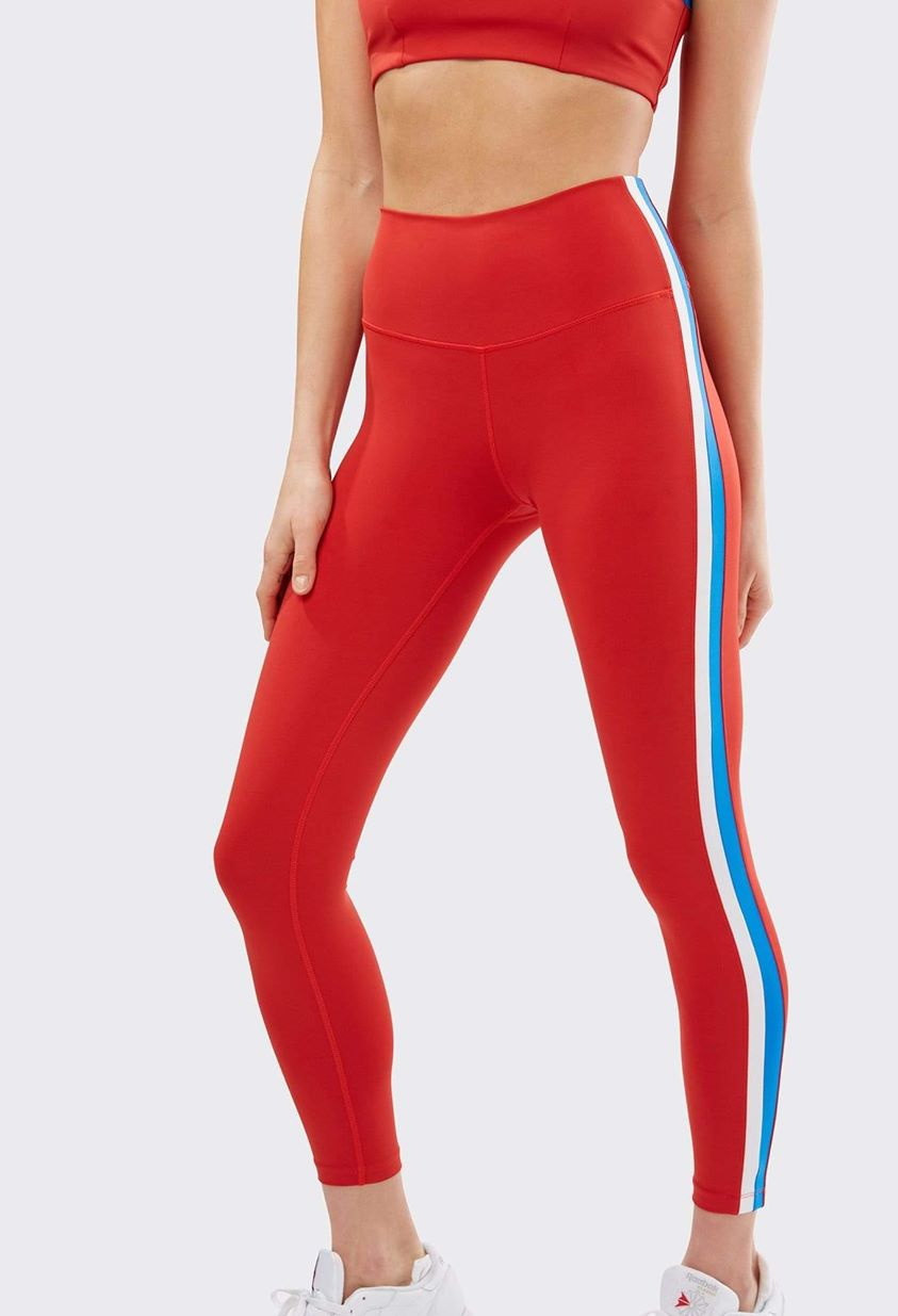 Harper High Waist 7/8 Legging - Crimson/ Off White Multi