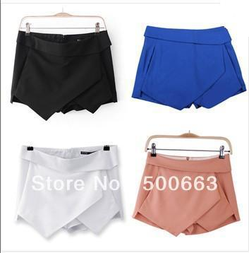 Women hot shorts   Sexy Shorts Wrap Mini Skirts  Invisible Zipper Tiered Culottes Pants Trousers  plus size  women hot pants -in Shorts from Apparel & Accessories on Aliexpress.com