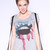 American Flag Lips Top with Suspenders - Grey | Obsezz