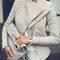 Women slim pu leather jacket coat outwear