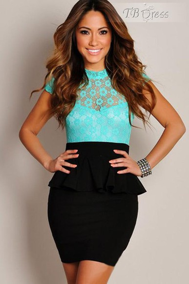 girly black tbdress-club dress cute dress blue turquoise