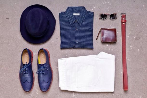 Hat: menswear, mens shirt, mens shoes, hipster, blue shirt ...