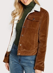 jacket,girly,brown,button up,fur,fur coat,fur jacket,corduroy