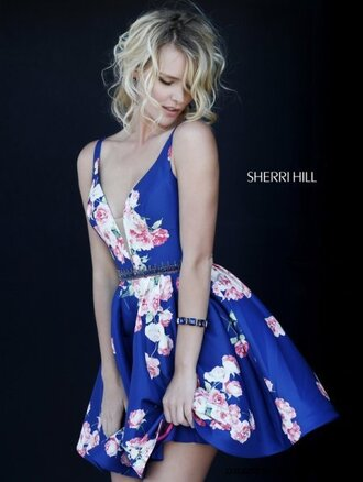 dress blue shirt floral sherri hill floral dress blue party dress homecoming dress homecoming short homecoming dress homecoming dress 2016 2016 homecoming dresss short prom dress 2016 short prom dresses short prom dresses 2016 cocktail dress short party dresses sexy party dresses