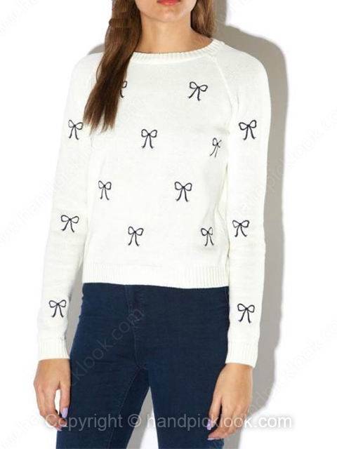 White Round Neck Long Sleeve Bow Embroidery Sweater - HandpickLook.com