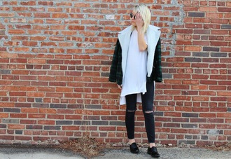 platinum and penniless blogger shearling jacket oversized t-shirt white t-shirt shirt jacket shoes jewels sunglasses