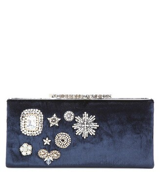 embellished clutch velvet blue bag