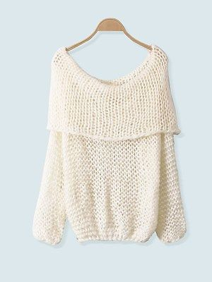 Women Tops Inspired Chunky Fuzzy Oversized Off-Shoulder Cowl Neck Loose Sweater