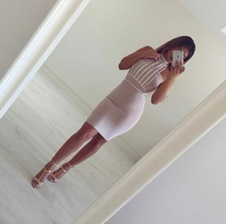dress pink dress bodycon dress victoria's secret turtleneck pastel tight blush pink nude dress halter dress bodycon sexy dress sexy party dresses party dress girly girly dress cute cute dress date outfit birthday dress clubwear club dress romantic dress romantic summer dress pretty beautiful