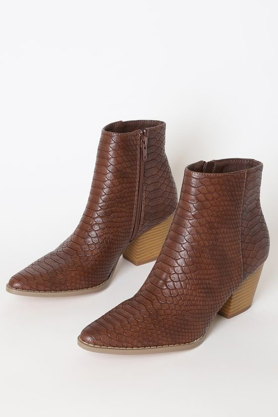 Spirit Dark Brown Snake Pointed Toe Ankle Booties