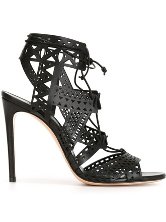 women laser cut sandals leather black shoes