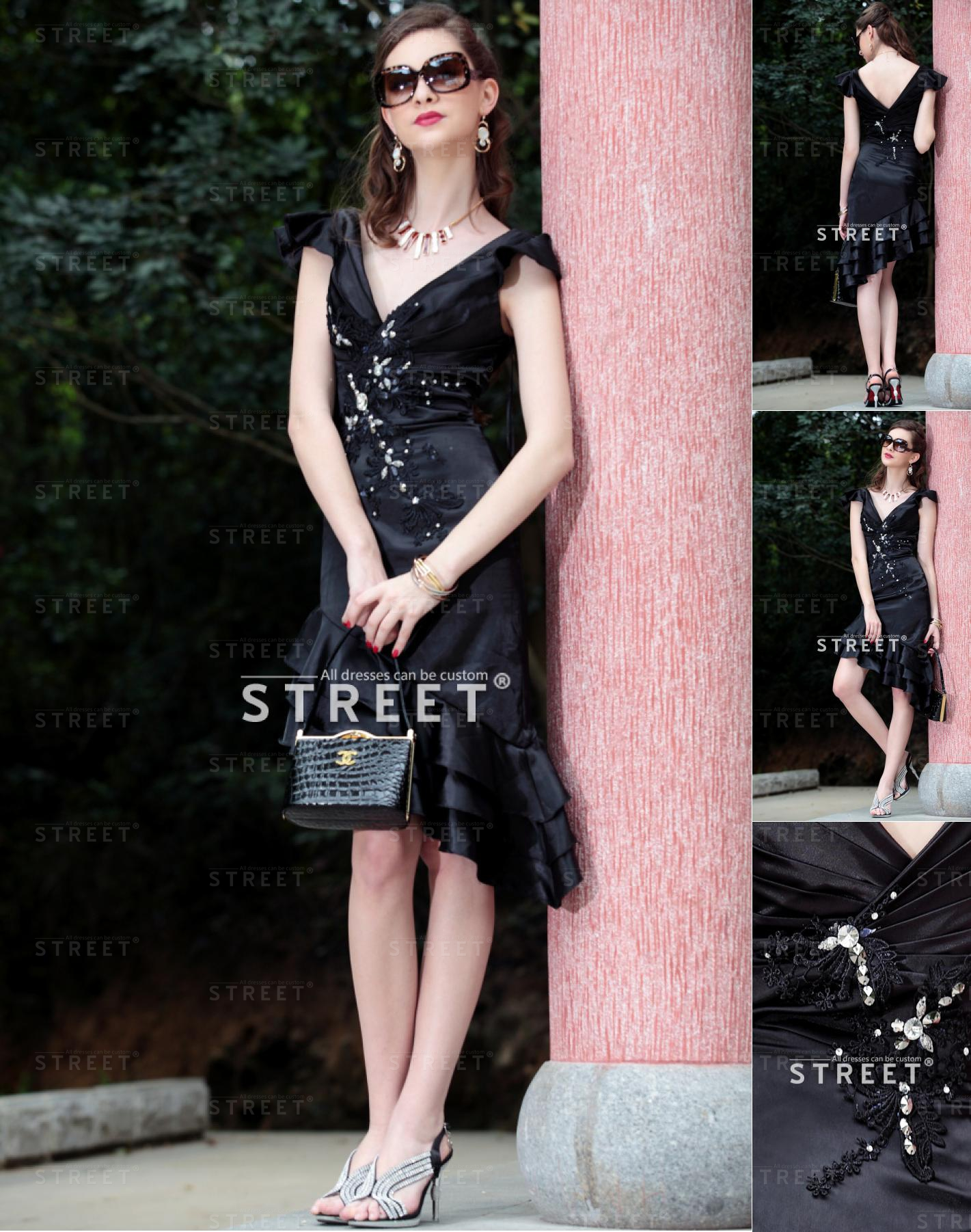 Taffeta Black Ruffled Rhinestone V Neck Short Sleeve Cocktail Dress