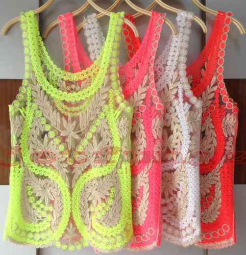 Women Sheer Embroidery Floral Lace Crochet Vest Tank Top Tee Shirt Blouse s XXL | eBay