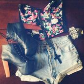 skirt,floral,shorts,High waisted shorts,heels,black,cross necklace,studs,shirt,blouse,jeffrey campbell,denim shorts,crop tops,shoes,jewels,tank top,clothes,floral tank top,flowers,jeans,high waisted,bustier,bandeau,bag,t-shirt