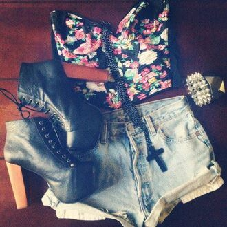 skirt floral shorts high waisted shorts heals black cross necklace studs shirt blouse jeffrey campbell denim shorts crop tops shoes jewels tank top clothes floral tank top flowers jeans high waisted bustier bandeau bag t-shirt