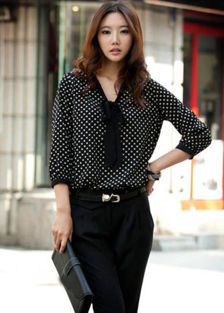 shirt polka dots polka dot skirt polka dots dress blouse cute clothes fashion