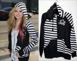 avril lavigne striped jacket skull hoodie