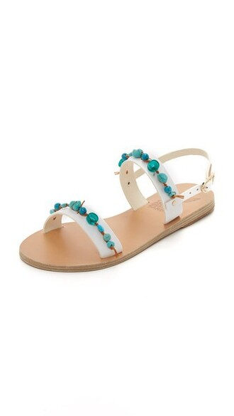 beaded sandals white shoes