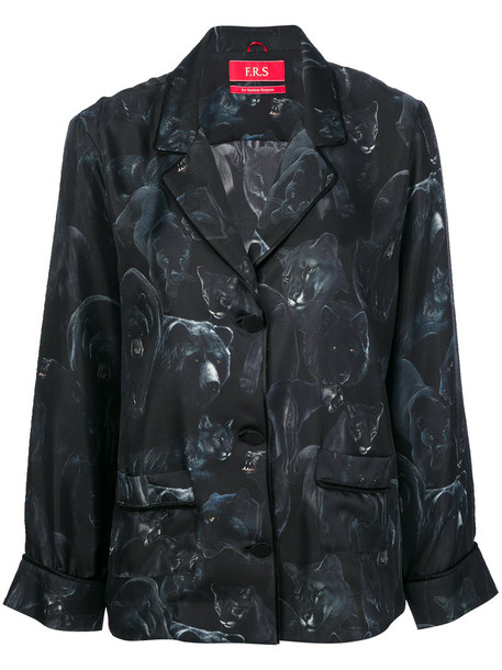 F.R.S For Restless Sleepers - night animals print button up top - women - Silk - L, Black, Silk