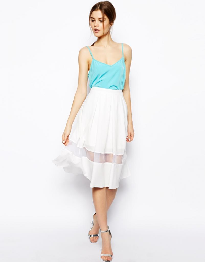 Sheer Panel Flare Midi Skirt - Bloggers Favourite Skirt!!