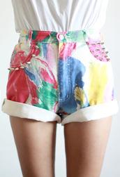 shorts,studs,high waisted,tumblr,style,painting,High waisted shorts,clothes,pretty,cute,cute shorts,fashion,beautiful,lovely shorts,multicolor,flowered shorts