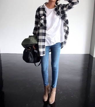 cardigan plaid fashion style clothes t-shirt shirt boots jeans bag flannel shirt shoes