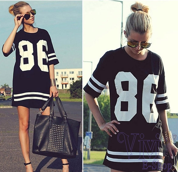 New Fashion Women Shirt Dress Plus Size Black White Printted 86 American Baseball Tee T shirt Tops Sports Fit Short Sleeve Dress-in Dresses from Apparel & Accessories on Aliexpress.com