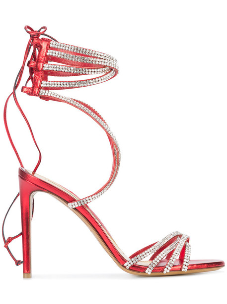 alexandre vauthier embellished sandals women embellished sandals leather red shoes