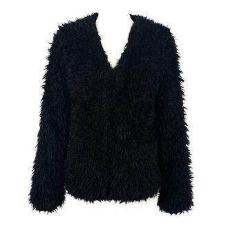 faux fur coat black coat www.ustrendy.com black faux fur soft faux fur teddy texture lining