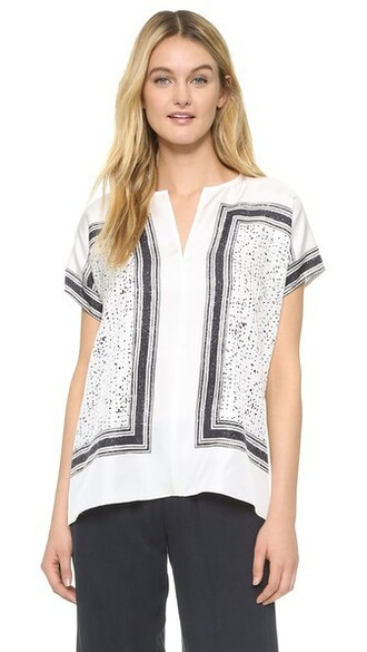 blouse white print black top