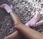 shoes,heels,ankle boots,baby pink,pink