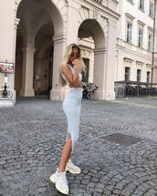 shoes,sneakers,white sneakers,midi skirt,side split,top,sunglasses