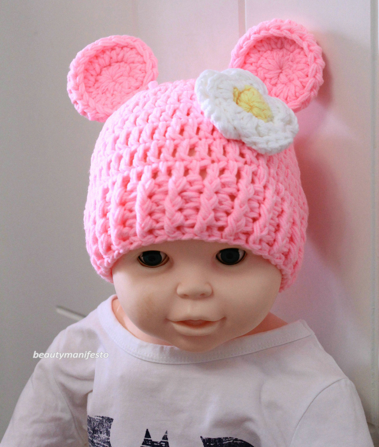 Baby girl bear hat newborn infant girl photo prop knit crochet beanie hat infant prop pink chunky soft