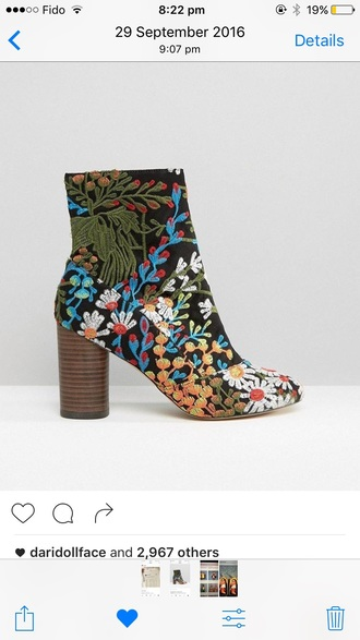 shoes boots embroidered floral heel boots