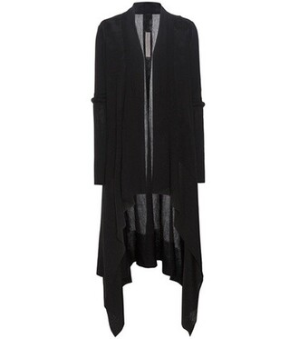 cardigan open wool black sweater