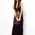Black Cotton Spaghetti Strap Print Rhinestone Straight Maxi Dress : KissChic.com