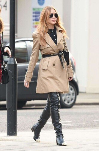 fall outfits coat boots lindsay lohan overknee boots