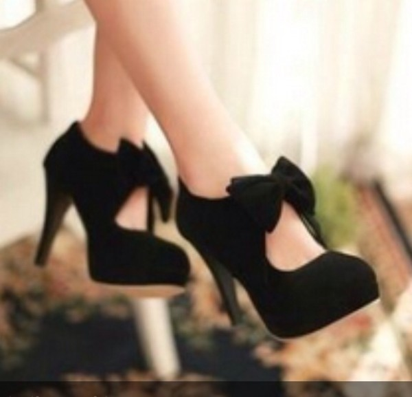 shoes black high heels pumps black pumps bows