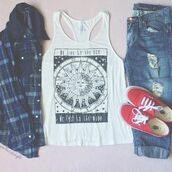 sun,jeans,ripped jeans,plaid jacket,hipster,tank top,shirt,moon,t-shirt,white,stars,pajamas,pants,jacket,leggings,top,blue,square,short,print,plaid shirt,vans,boyfriend jeans,blouse,plaid,grunge,moon and sun,sun and moon tee,pastel,tumblr,outfit,weheartit,accessories,boho,boho shirt,hippie,summer,summer outfits,fall outfits