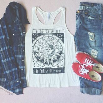 sun jeans ripped jeans plaid jacket hipster tank top shirt moon t-shirt white stars pajamas pants jacket leggings top blue square short print plaid shirt vans boyfriend jeans blouse plaid grunge moon and sun sun and moon tee pastel tumblr outfit weheartit accessories boho boho shirt hippie summer summer outfits fall outfits