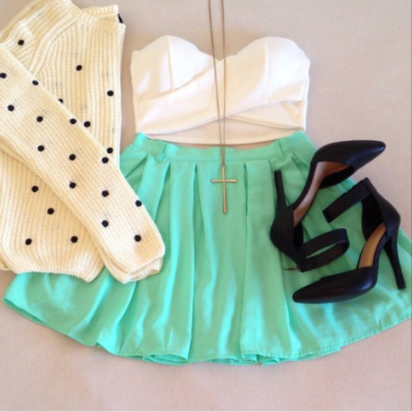 skirt clothes skater skirt crop tops tank top bustier sweater polka dpt cross necklace gold pumps high heels black blue white shirt shoes jewels blue skirt pretty all cute outfits teal, mint, skaterskirt