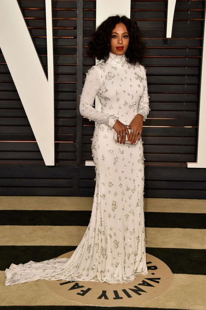 dress long dress long sleeve dress solange knowles gown red carpet dress oscars 2015