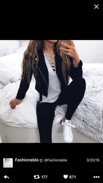 shirt grey lace up shirt pants jacket