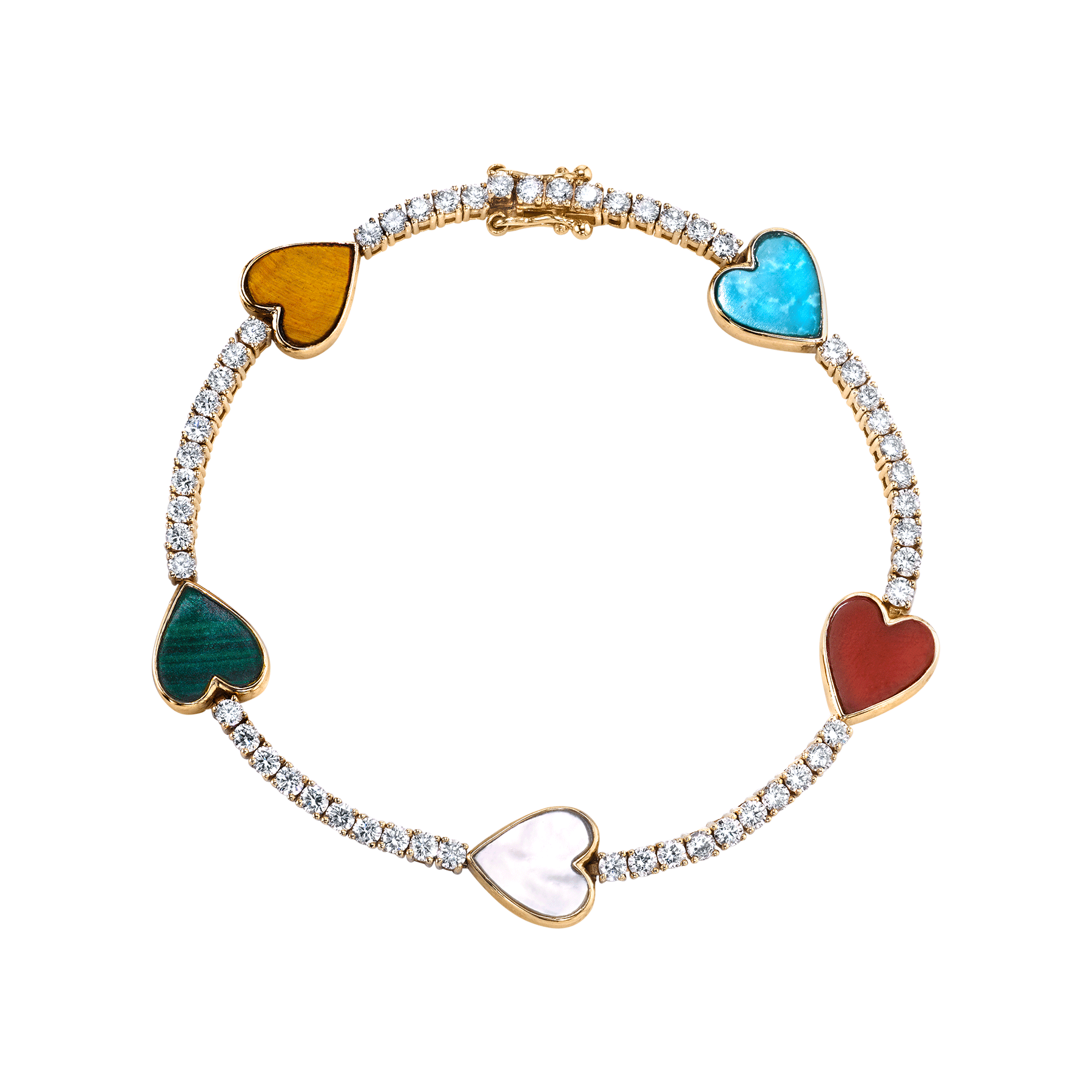 DIAMOND AND STONE HEART TENNIS BRACELET