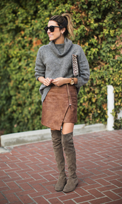 hello fashion,blogger,skirt,grey sweater,asymmetrical,zip,thigh high boots,winter boots,winter outfits,sweater,shoes,cardigan,zipped skirt,zip-up skirt,over the knee boots,khaki boots,printed pouch,pouch,turtleneck sweater,suede skirt,asymmetrical skirt,flat boots