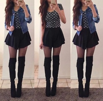 skirt black skater skirt shoes tights shirt jacket