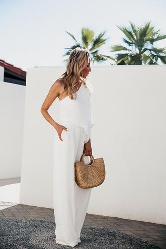 jumpsuit tumblr white jumpsuit one shoulder bag basket bag summer outfits wide-leg pants