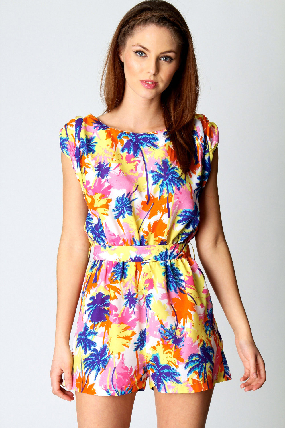 Boohoo caroline palm tree multicoloured tropical print playsuit
