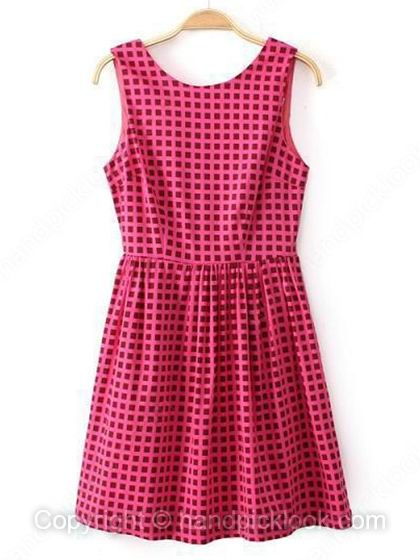 Fuchsia Round Neck Sleeveless Plaid Dress - HandpickLook.com