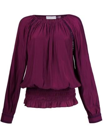 blouse tunic purple pink top